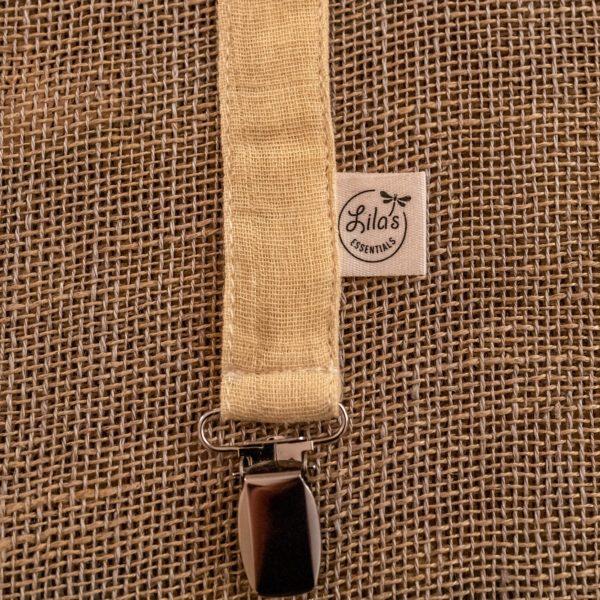 Pacifier holder Sunshine Lila's Essentials organic GOTS cotton natural dye